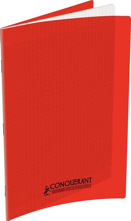 Piqûre 96 pages 21x29,7 cm, seyès 90g couverture polypropylène rouge
