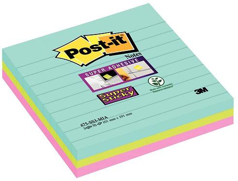 Paquet 3 blocs Notes SuperSticky 70 feuilles lignées 10.1x10.1cm Miami