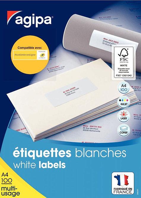 Boîte de 100 étiquettes multi-usages blanches 297x210mm coins droits