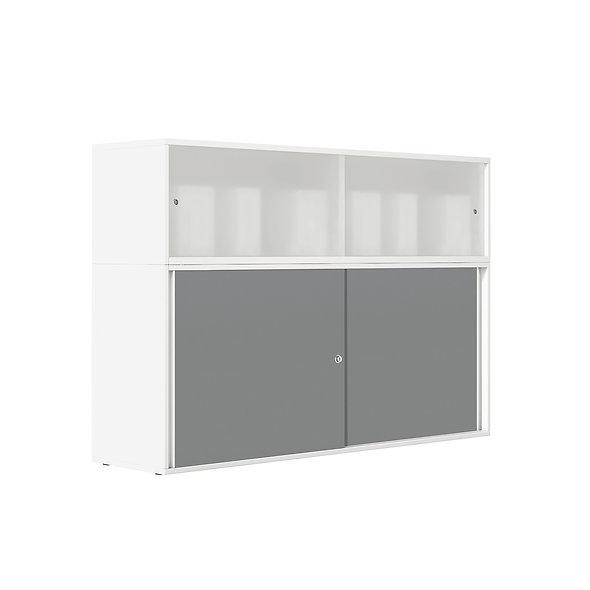 Armoire haute mélamine portes coulissantes Altuglas® - Corps blanc