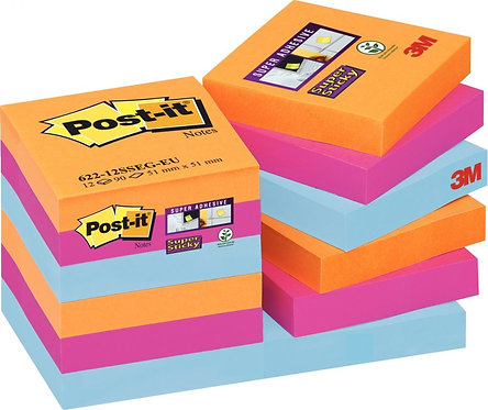 Paquet 12 blocs 90 feuilles Super Sticky post-it, 476 x 476 mm, couleurs Bangkok