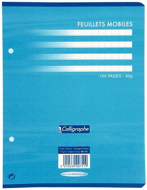 Sachet 50 feuillets mobiles (100 pages) 17x22 cm séyès 90g blanc