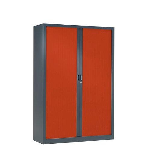 Armoire à rideaux bicolore 160 x 100 cm - Corps gris anthracite - Rideaux Color