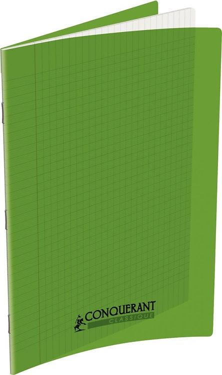 Piqûre 48 pages 21x29,7 cm seyès 90g couverture en polypropylène vert