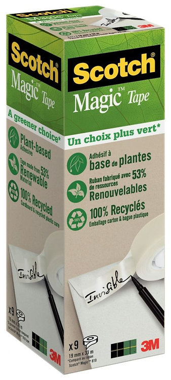 Pack 9 rouleaux adhésifs invisible Scotch Magic GREEN 19 mm x 33 m