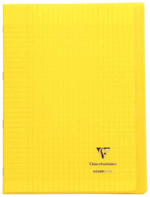 Piqûre 96 pages 21x29,7cm KOVERBOOK, seyès 90g Couverture polypropylène jaune