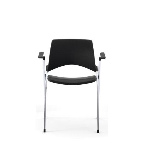 Chaise EMILE avec placet tissu et accoudoirs - Piétement sur roulettes