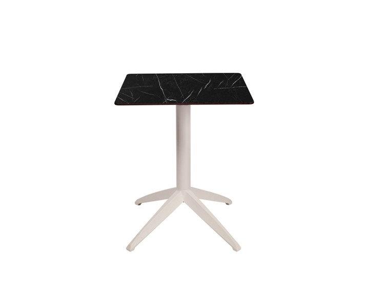Table pliante SWEB - Plateau Marbre Noir - Piétement Blanc