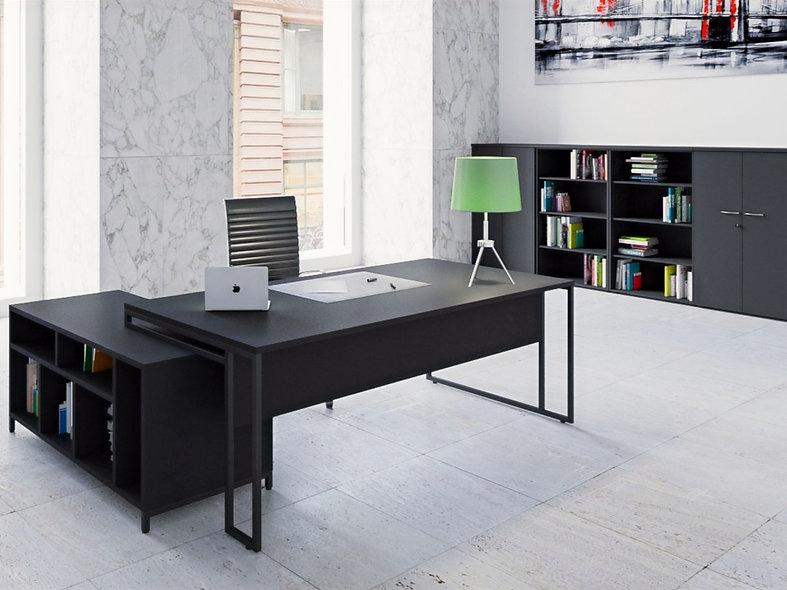 Bureau direction Straton+ L. 180 cm avec meuble service