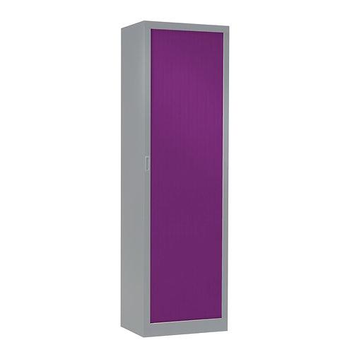 Armoire à rideaux bicolore 198 x 60 cm - Corps gris aluminium - Rideaux Color