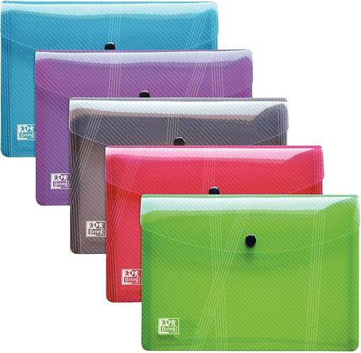 Lot de 5 enveloppes polypropylène A5 fermeture par bouton pression couleurs