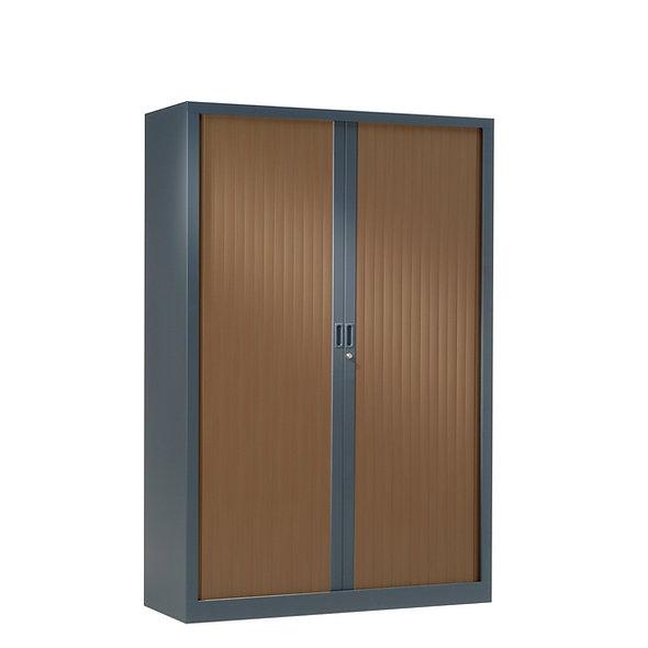 Armoire à rideaux bicolore 160 x 100 cm - Corps gris anthracite - Rideaux bois