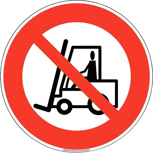 Panneau interdit aux véhicules de manutention diamètre 25cm