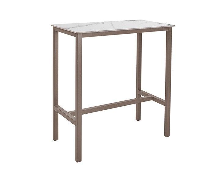 Table haute SWEB - Plateau Marbre Blanc - Piétement Taupe