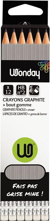Boîte de 12 crayons graphite ordinaire HB bout gomme