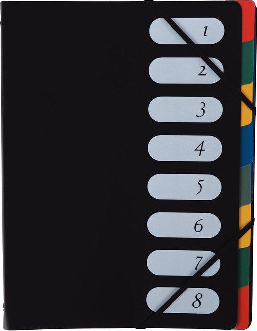 Trieur en polypropylène avec élastiques 8 compartiments couverture coloris noir