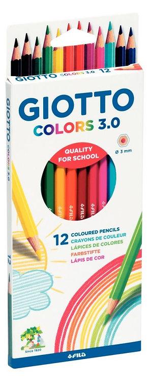 Pochette de 12 crayons de couleur Giotto Colors 3.0