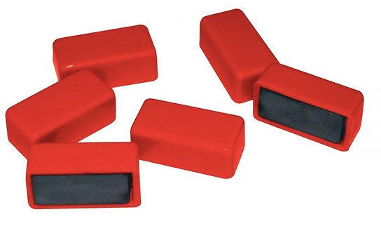 Blister de 6 punaises magnétiques rectangulaires 12x25 mm rouge