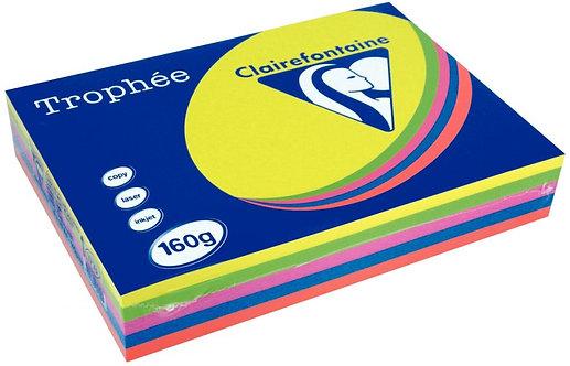 Paquet 250 feuilles papier 160g A4 assortis intense TROPHEE CLAIREFONTAINE