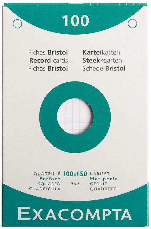 Etui 100 fiches bristol perforées carte forte 210g blanc quadrillé 5x5 10x15cm