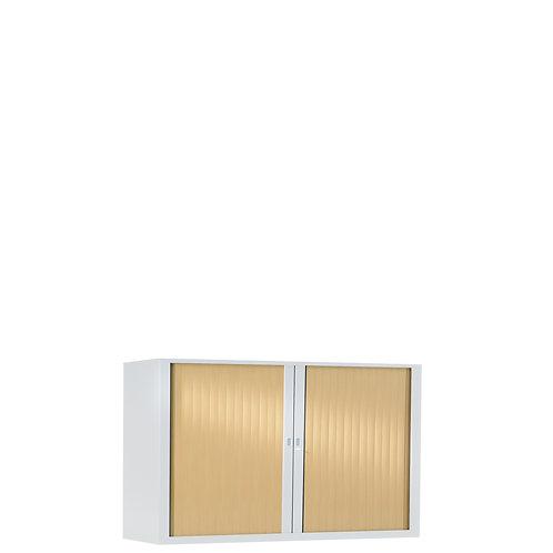 Armoire à rideaux bicolore 69.5 x 100 cm - Corps blanc - Rideaux bois