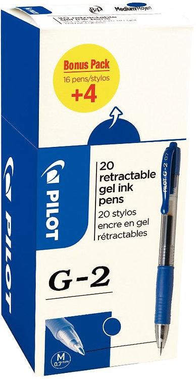 Ecopack 20 stylos G2 bleu dont 4 offerts