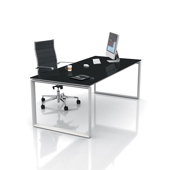 Table de bureau - Plan droit WEST - Piétement Gris aluminium