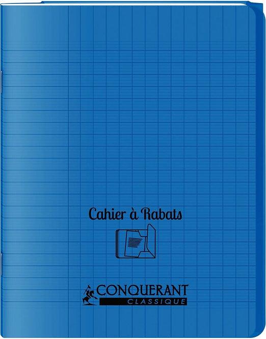 Piqûre 96 pages couverture polypropylène 2 rabats 17x22 cm seyes coloris bleu
