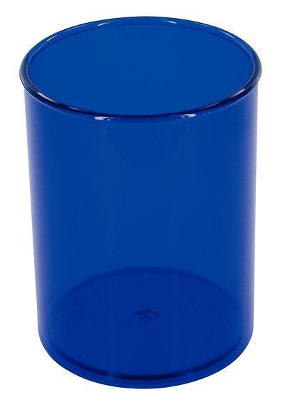 Pot à crayon transparent bleu foncé
