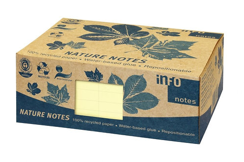 Paquet 12 blocs notes repositionnables 100 feuilles recyclées 75x125mm jaune
