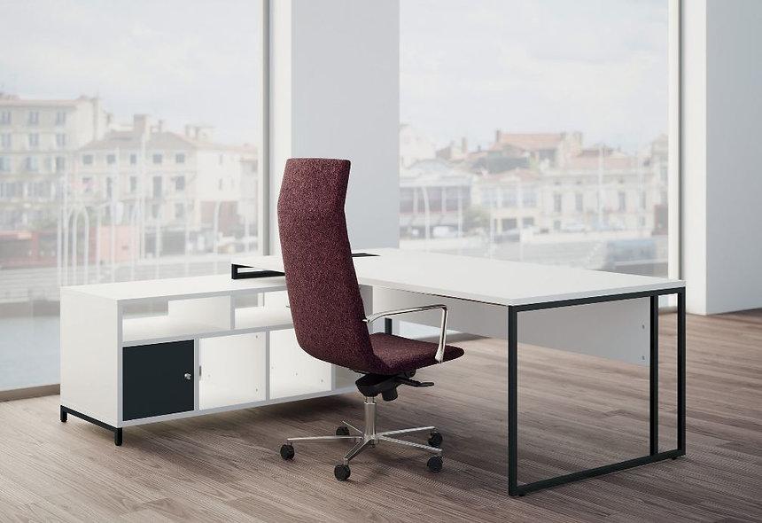 Bureau direction Straton+ L. 180 cm avec meuble service et bloc de rangement