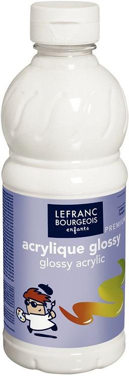 Flacon 500 ml de peinture acrylique brillante Glossy Lefranc & Bourgeois blanc