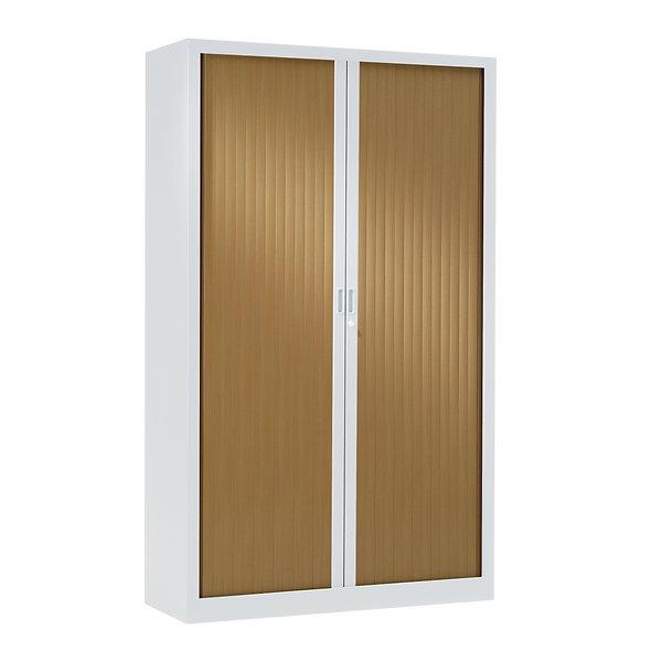 Armoire à rideaux bicolore 198 x 100 cm - Corps blanc - Rideaux bois