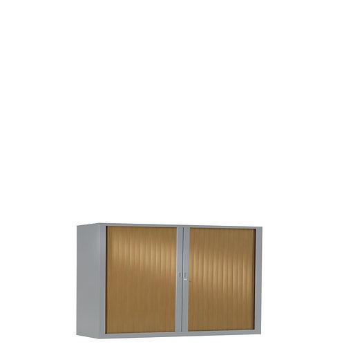 Armoire à rideaux bicolore 69.5 x 120 cm - Corps gris aluminium - Rideaux bois