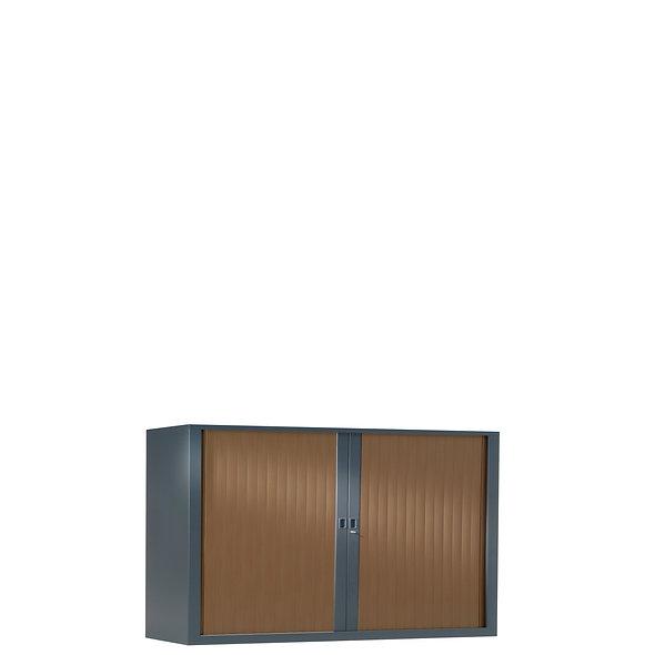 Armoire à rideaux bicolore 69.5 x 120 cm - Corps gris anthracite- Rideaux bois