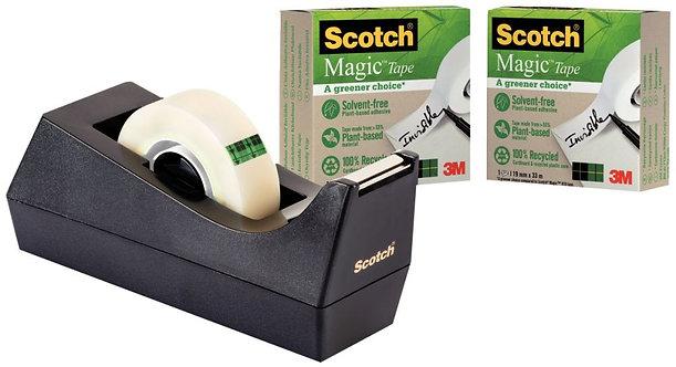 Pack dévidoir C38 NOIR recyclé+3 rouleaux adhésifs invisibles Scotch Magic Green