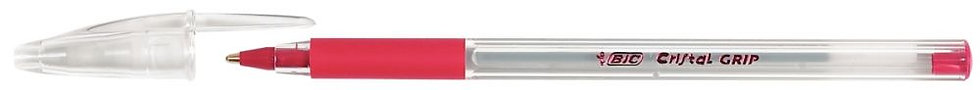 Stylo bille Bic Cristal Grip pointe moyenne rouge