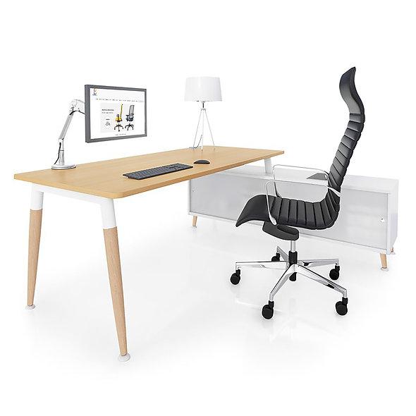 Table de bureau rectangulaire sur meuble porteur - Arche métallique Blanc