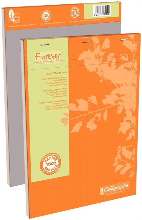 Bloc de bureau FOREVER en papier recyclé 70g, 100 feuilles A4, quadrillé 5x5