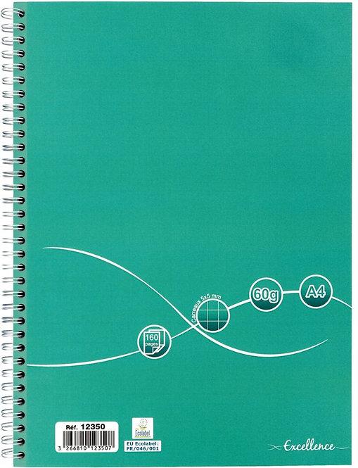 Cahier reliure intégrale 160 pages EXCELLENCE A4 quadrillé 5x5 papier 60g