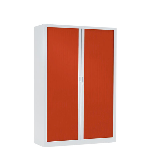 Armoire à rideaux bicolore 160 x 120 cm - Corps blanc - Rideaux Color