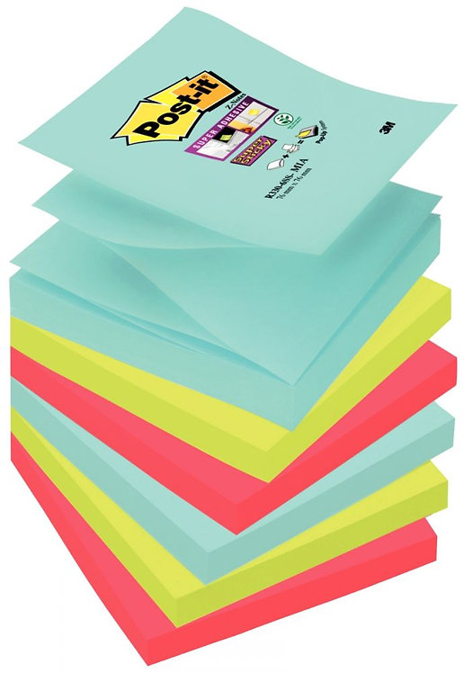 Lot 6 blocs 90 feuilles Z-Notes Super Sticky post-it, 76x76 mm, couleurs Miami