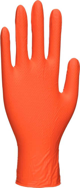 Boîte de 100 gants jetables nitrile grip orange taille L