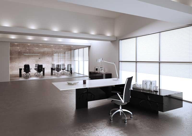 Bureau avec retour grands tiroirs MAST - Plateau verre - Piétement Noir Brillant