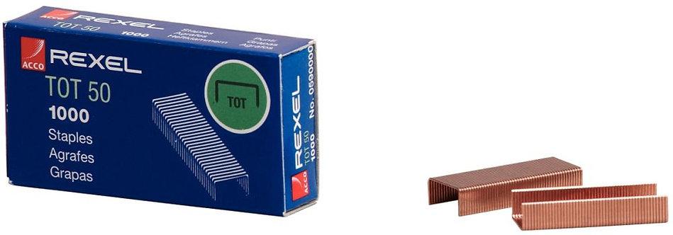 Boîte de 1000 agrafes TOT 50 cuivrées