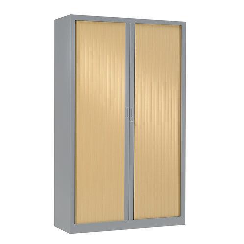 Armoire à rideaux bicolore 198 x 100 cm - Corps Aluminium - Rideaux bois