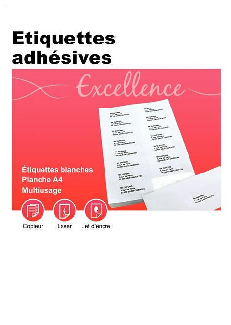 Boîte 100 planches 16 étiquettes adresse multi-usages 105x35mm. Coin carré