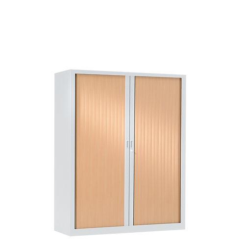 Armoire à rideaux bicolore 136 x 120 cm - Corps blanc - Rideaux bois