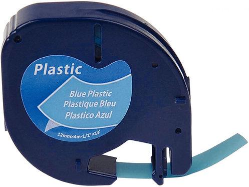 Ruban cassette Letratag plastique 12 mm x 4 m  noir sur bleu