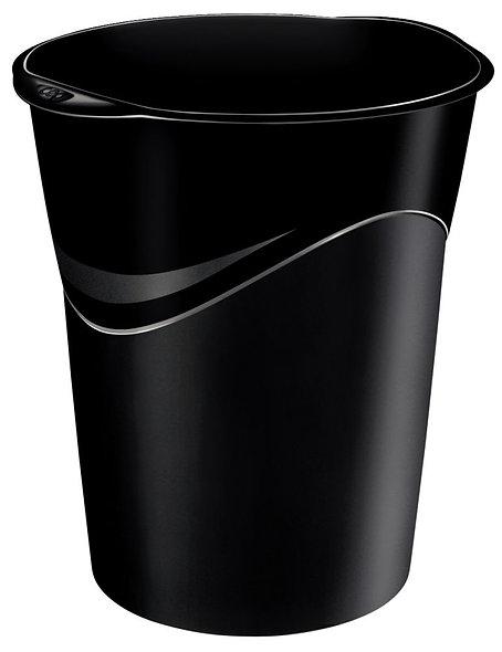corbeille a papier ovale 14 litres noire recyclable